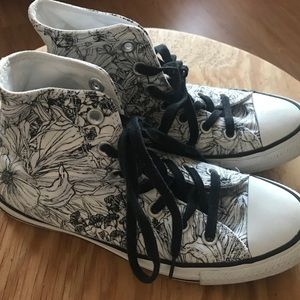 Converse High Tops Floral Black/White